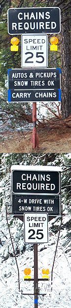Snow Chain Requirement Signs
