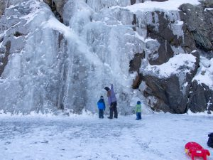 Frozen waterfall at Castle Lake, California.